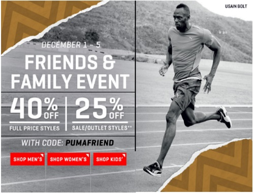 PUMA Friends & Family Event Promo Code