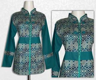 Model Baju Batik Kombinasi Polos untuk pesta