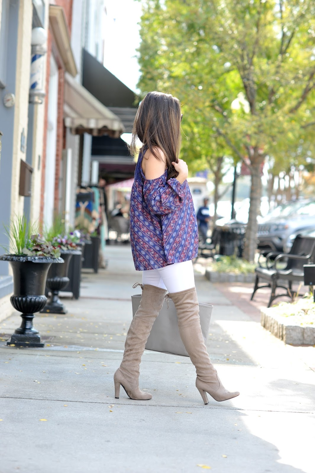 Cold Shoulder Top & Over the Knee Boots - Erica Valentin Style Blogger