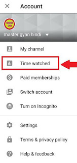 how to trace time watched youtube