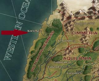 A fekete idegen novella helyszíne Hyboria térképén