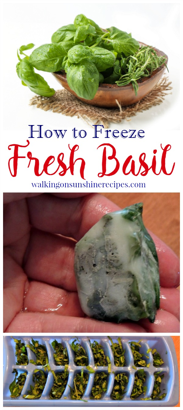 How to freeze fresh basil from your garden to use long after we say goodbye to summer from Walking on Sunshine Recipes.