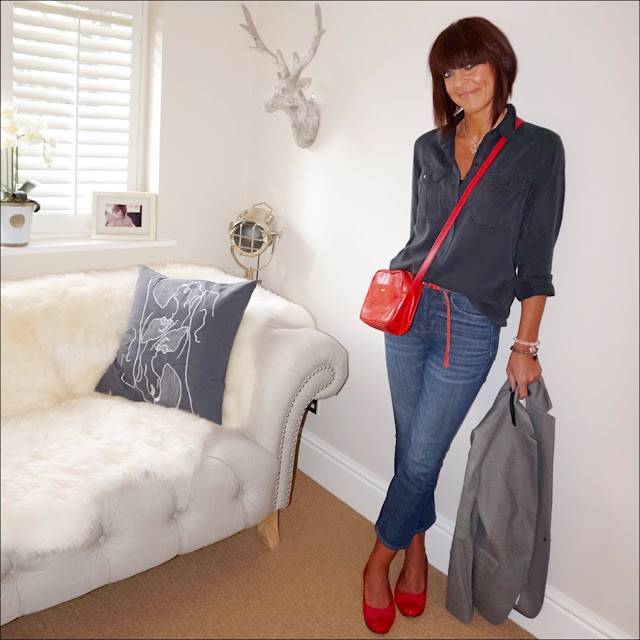 My midlife fashion, zara military shirt, village england misterton chain necklace, uterus mock croc cross body bag, j crew cropped kick flare jeans, red quilted ballet pumps, j crew regent blazer