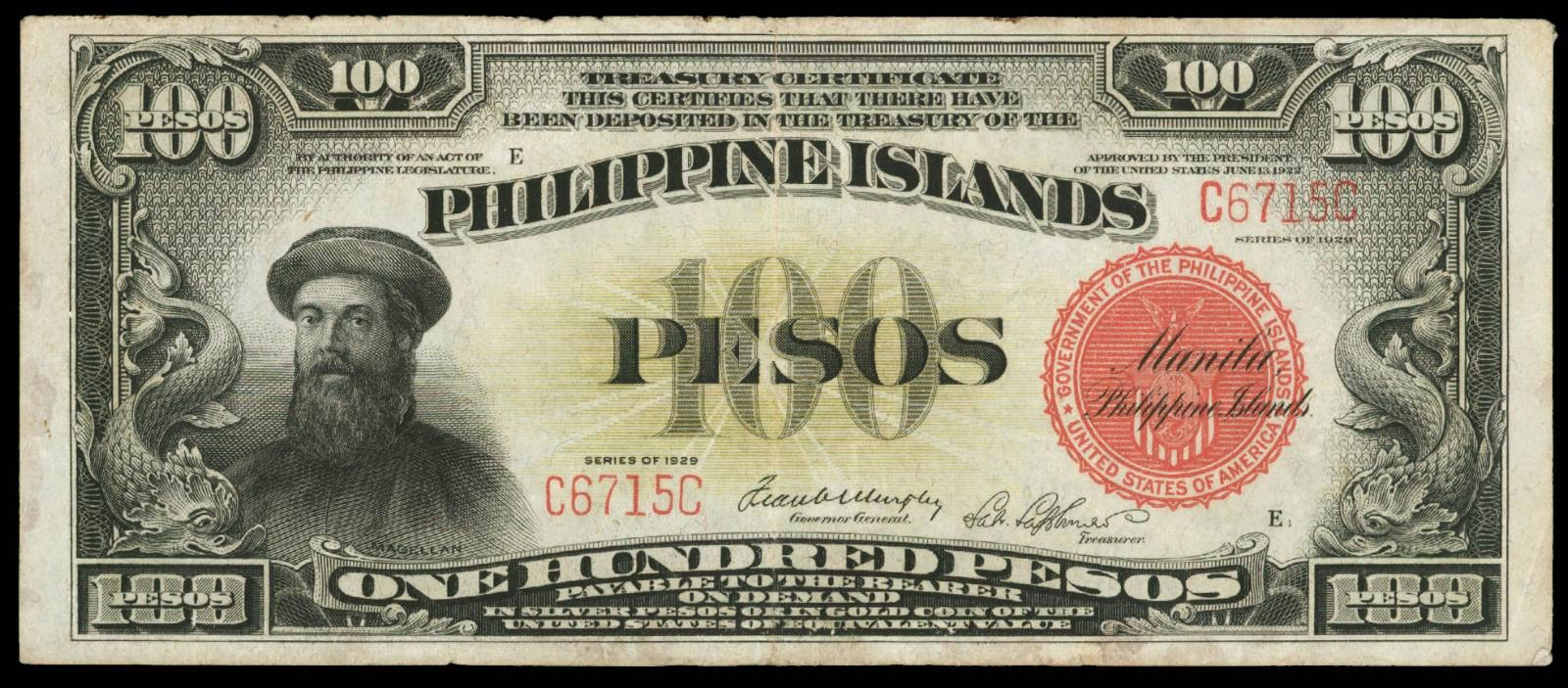 Philippine Islands 100 Pesos note Treasury Certificate 1929 Ferdinand Magellan