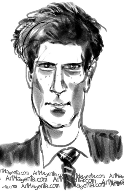 Prince Harry caricature cartoon. Portrait drawing by caricaturist Artmagenta.