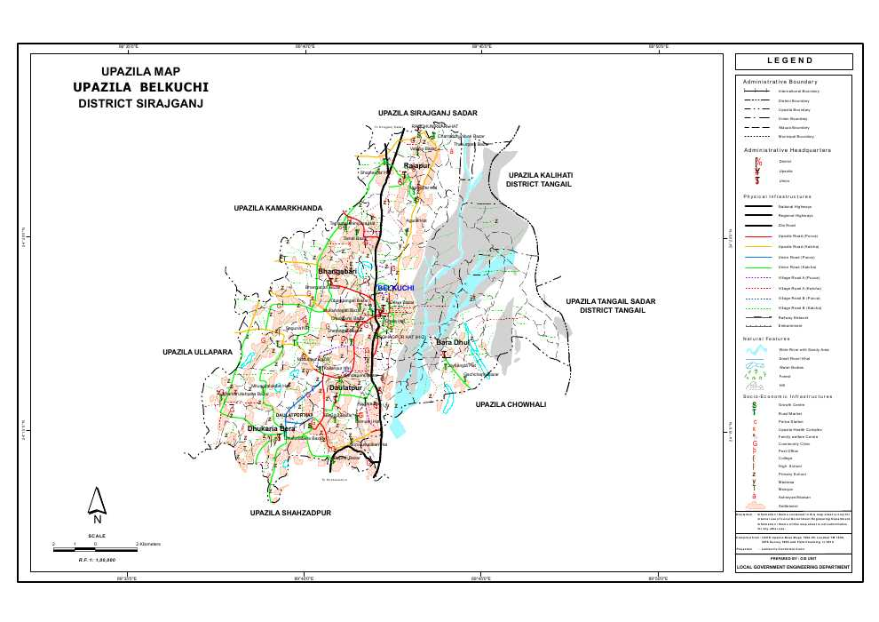 Belkuchi Upazila Map Sirajganj District Bangladesh