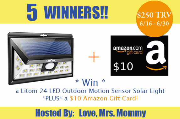 Litom Super Bright 24 LED Outdoor Motion Sensor Solar Light + Amazon #Giveaway – Ends 6/30/17