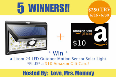Enter the Litom Solar Light Giveaway. Ends 6/30