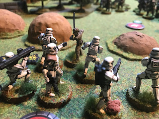 Luke Skywalker attacks a unit of Stormtroopers