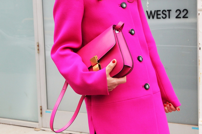 New York Street style hot pink fuschsia coat and handbag