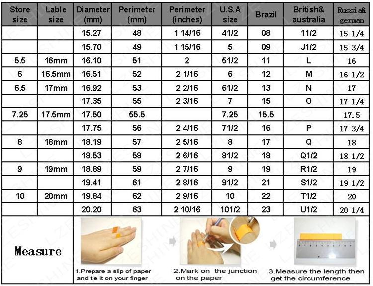 tabela de medidas de anéis no aliexpress