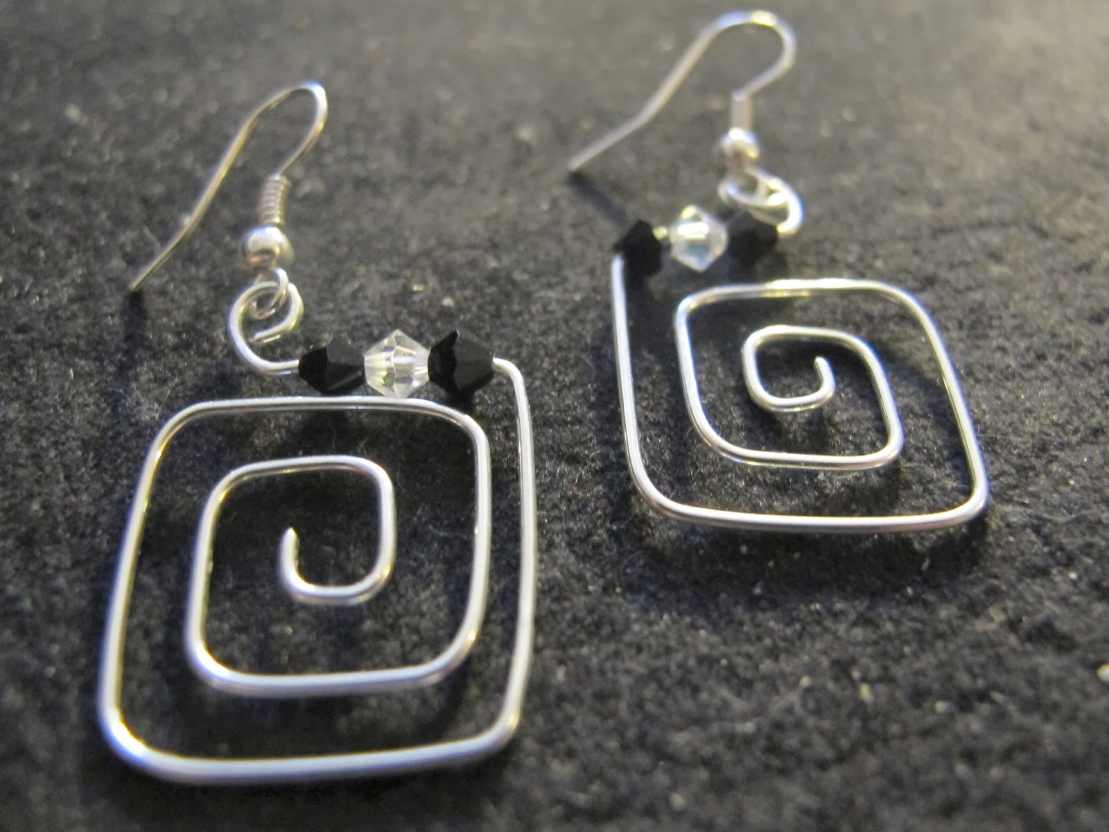 The Latest Wire Wred Earrings That I Made For Her Are These Silver Squares With Black And Clear Swarovski Crystals