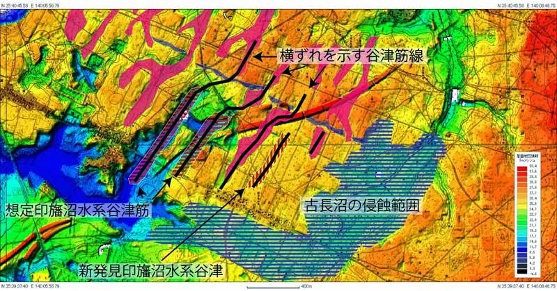 034 千葉北インター付近の花島断層横ずれ - 花見川流域の小崖地形