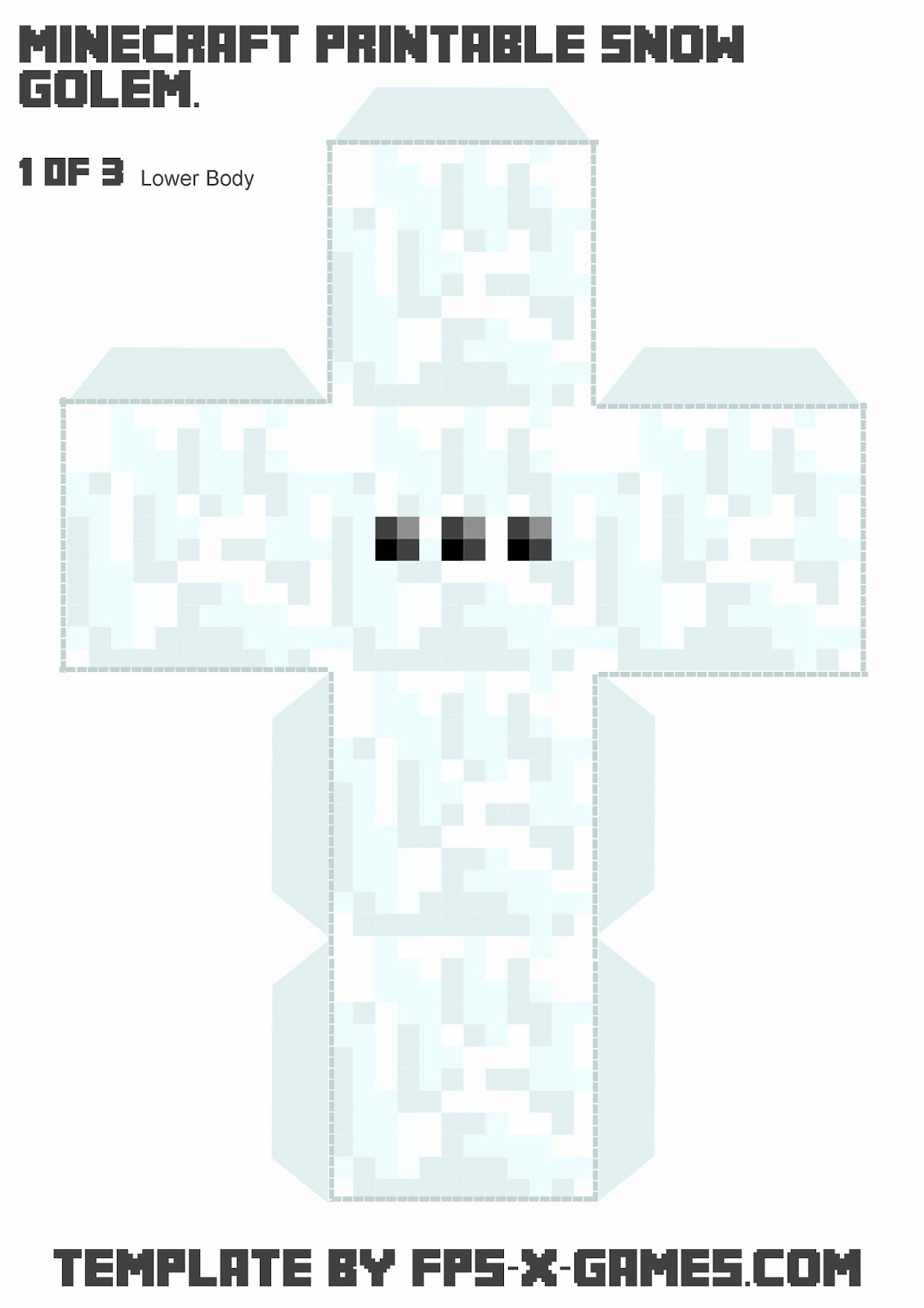 Minecraft Snow Golem - Printable Papercraft Template 1 of 3