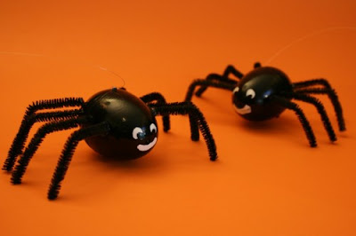 Easter Spiders? Decorate Plastic Eggs for Halloween and fill with candy