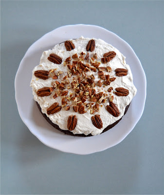 chocolate pecan cake with maple whipped cream
