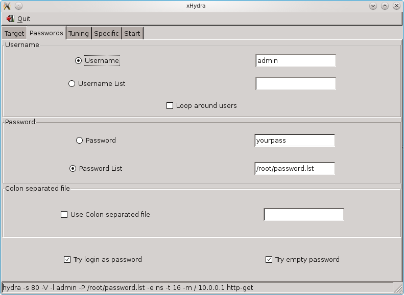 Backtrack Hacking Guide: Using XHydra to hack router password