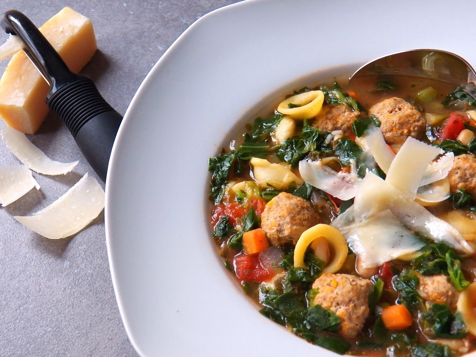 Healthy Turkey Meatball and Kale Soup