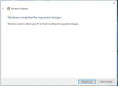 Windows completes requested changes and needs to reboot