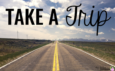 "Photo of empty road with text, ""Take a trip."""