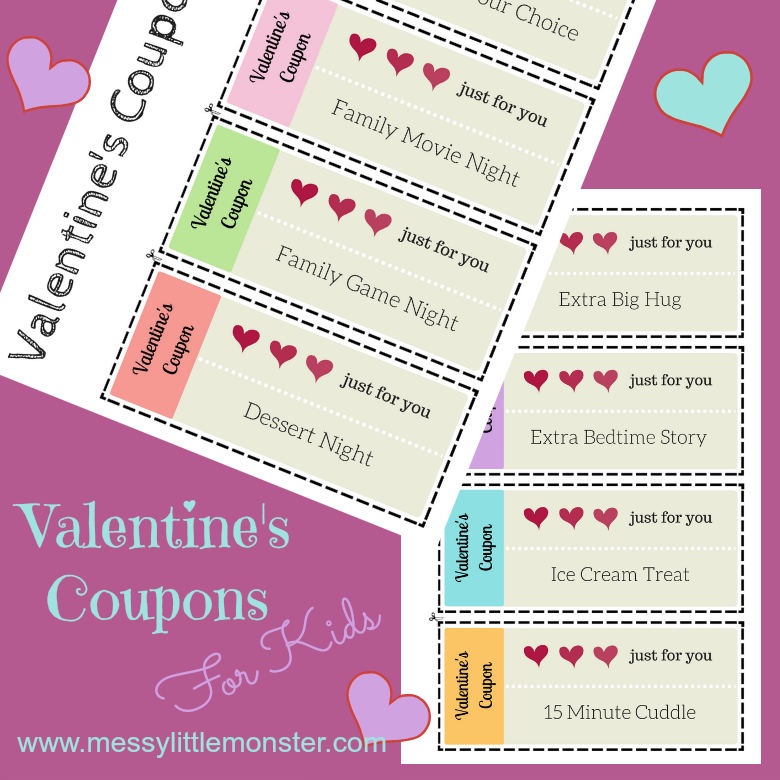 Free printable Valentine's Day Coupons for kids. Download and print out the 8 coupons to make a family friendly coupon book for your child. What a fun Valentine's Day treat idea!