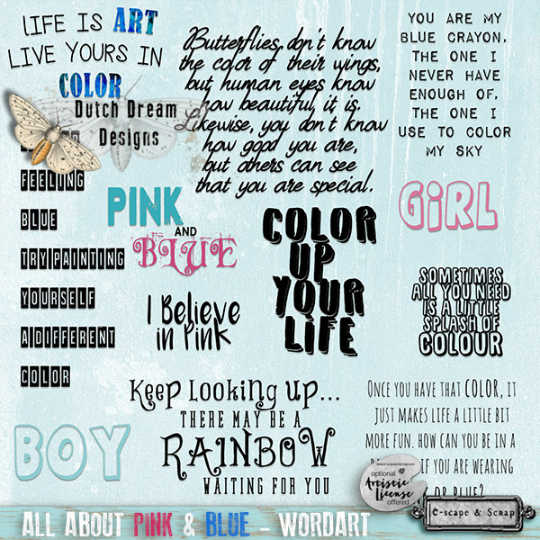 All About Pink & Blue Wordart