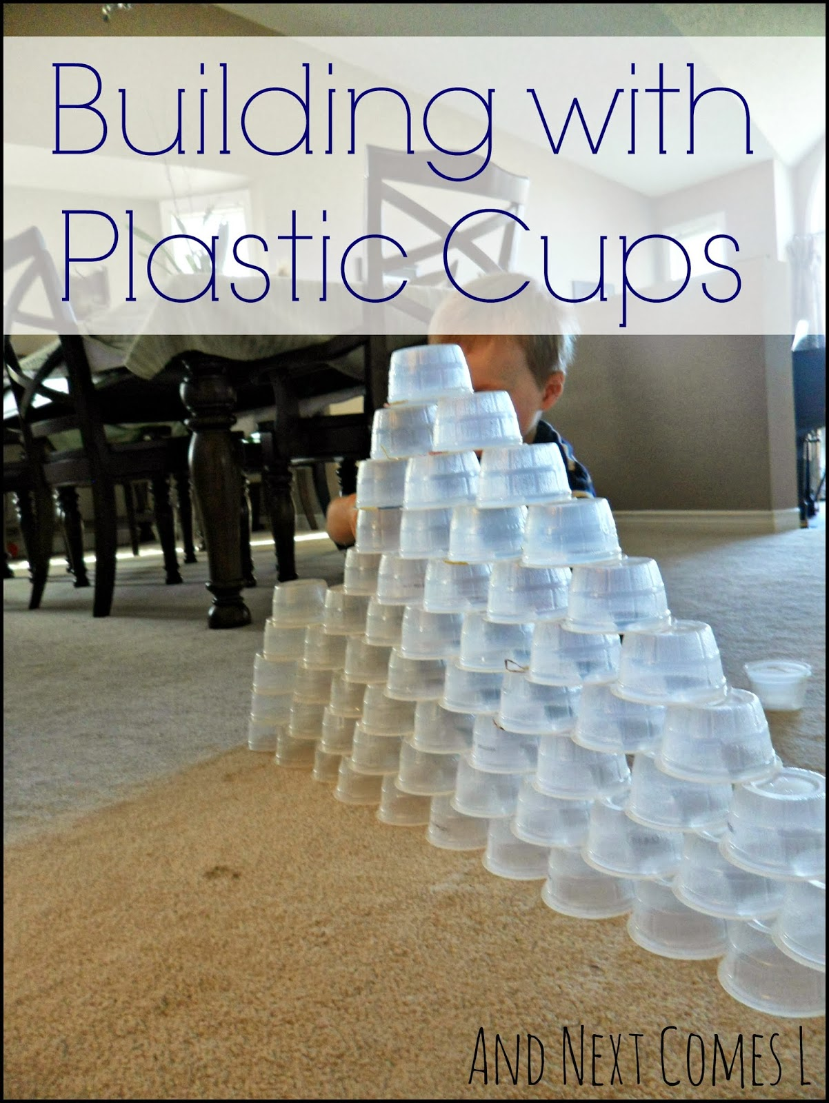 Simple engineering STEM challenge for kids: building with plastic cups from And Next Comes L