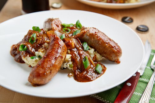 Bangers and Colcannon with Guinness Onion Gravy