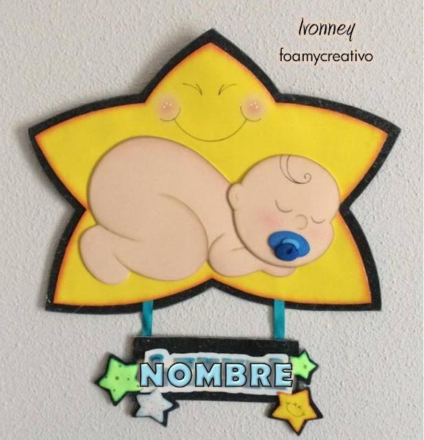 Cartel bebe foami, niño dormido en estrella, foamycreativo