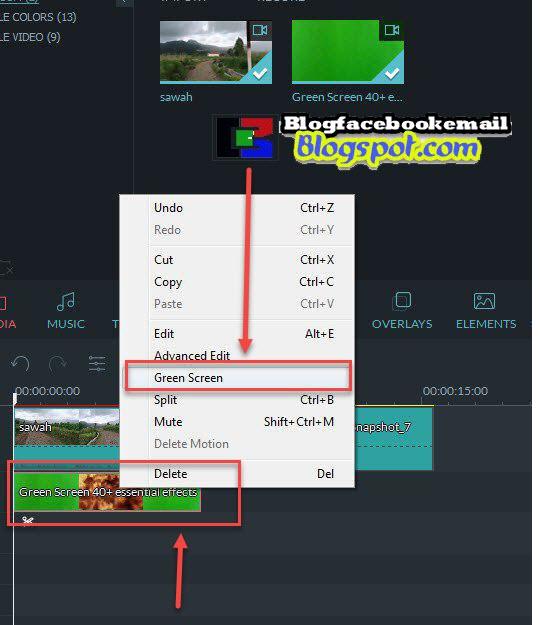 klik kanan dan pilih greenscreen effect
