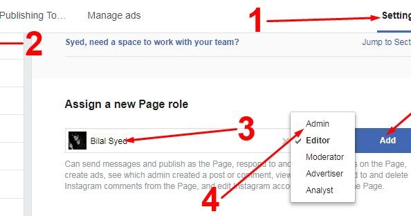 Facebook Page Me Aik Se Zada Admin Ko Add Change Or Remove