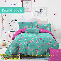Sprei Custom Katun Lokal Dewasa Peace Lover Floral Pattern Tosca Hijau Pink