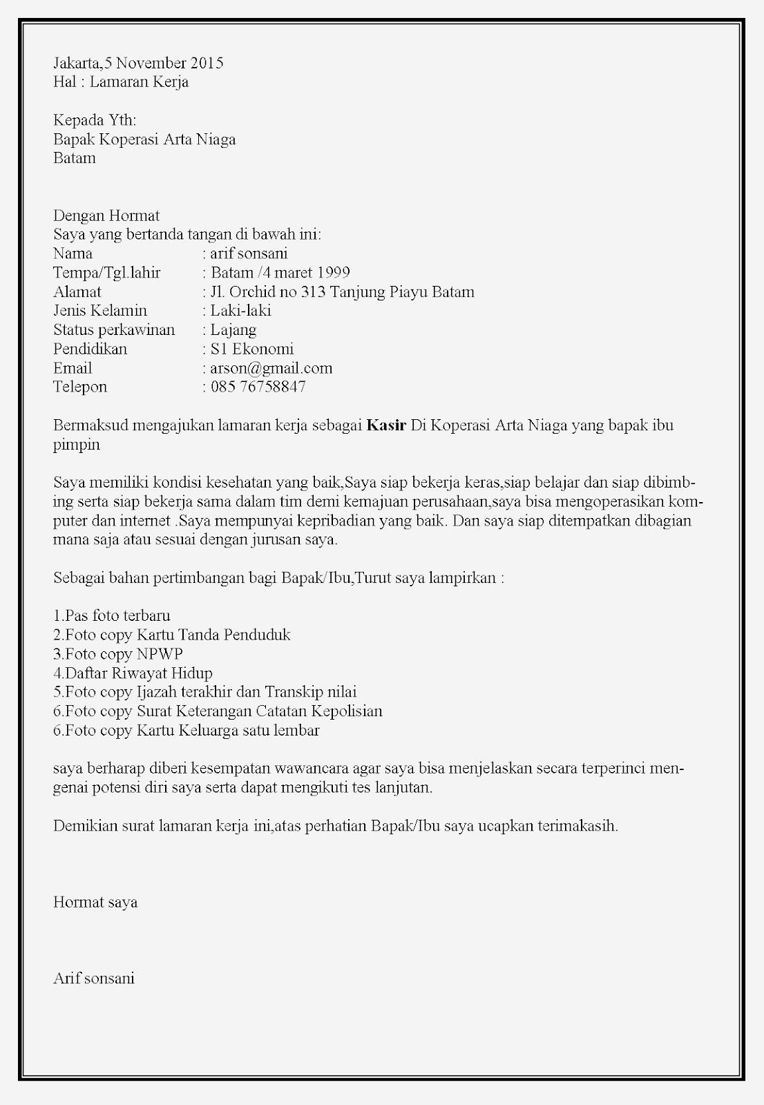 Contoh surat lamaran kerja koperasi sebagai kasir