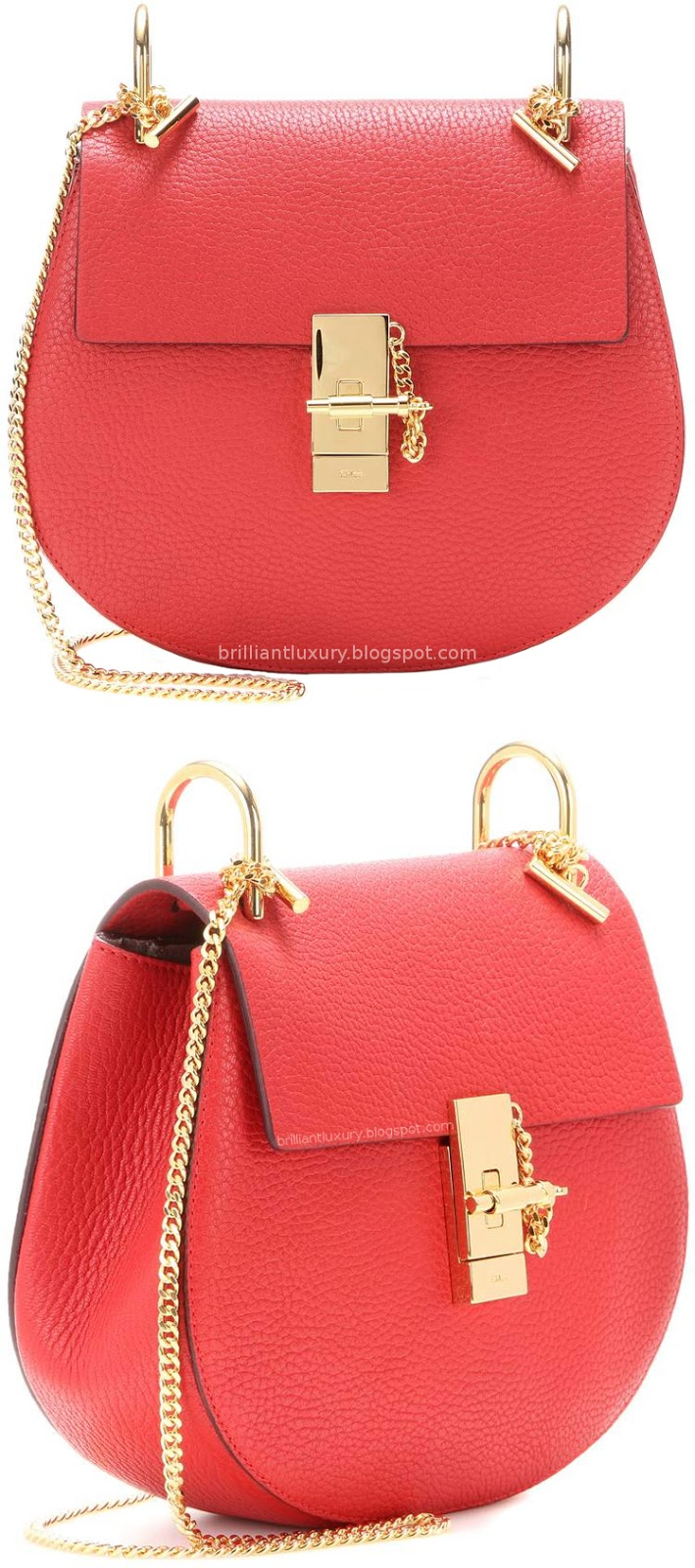 Brilliant Luxury ♦ Chloé Drew classy red small leather shoulder bag