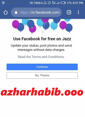 jazz announced unlimited  free Facebook for  all there users (latest)
