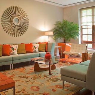 decoración sala naranja turquesa