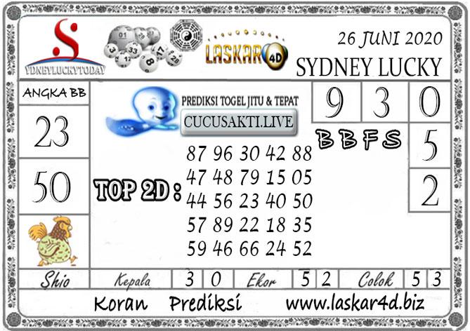 Prediksi Sydney Lucky Today LASKAR4D 26 JUNI 2020