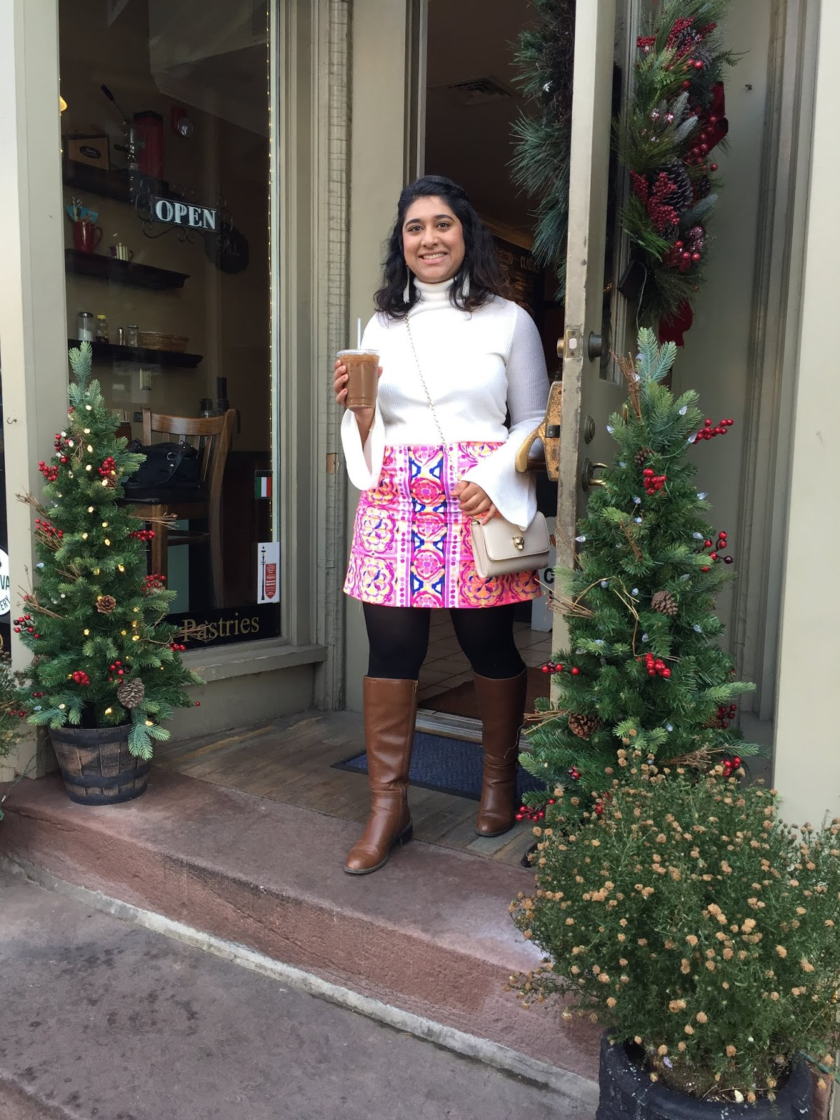 Lilly Pulitzer Skirt with sweater and boots for fall
