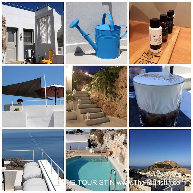 Blue and white cubic houses, shower gels, white staircase in the evening light, a swimming pool, a village with white cubic houses,a blue watering can, a glass of Frape.