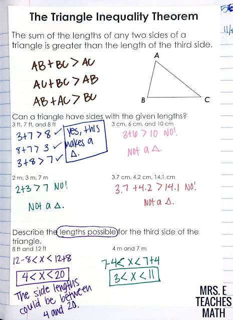 Relationships in Triangles INB Pages  Mrs. E Teaches Math
