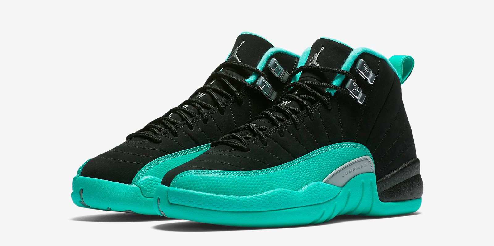 507900709b952c ajordanxi Your  1 Source For Sneaker Release Dates  Girls Air Jordan 12  Retro GG Black Metallic Silver-Hyper Jade Release Reminder