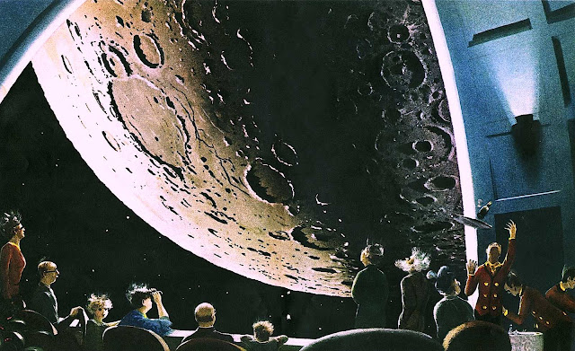 a Chesley Bonestell illustration of an audience observing the moon