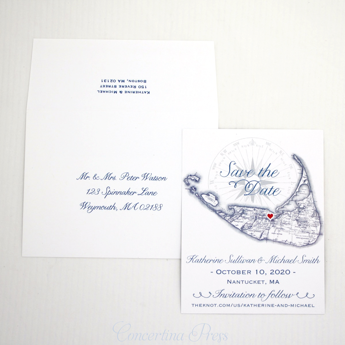 Nantucket Save the Dates with envelope addressing from Concertina Press