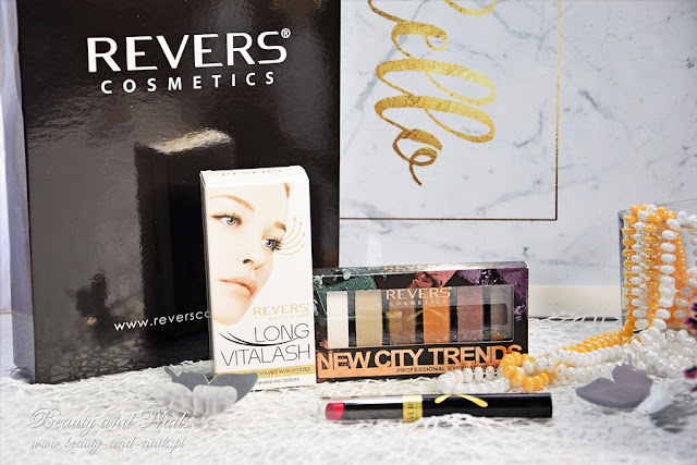 REVERS Cosmetics, paleta cieni, serum i pomadka.