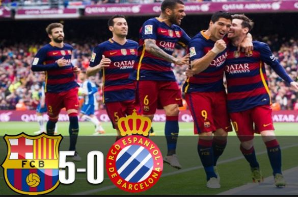Barcelona 5 vs 0 Espanyol (WATCH Highlights and Goals Here)