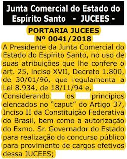 Comissão concurso JUCEES 2018