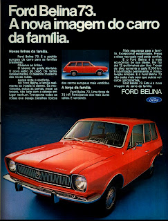 propaganda Ford Belina ano 73 publicado em 1972;  1972; brazilian advertising cars in the 70s; os anos 70; história da década de 70; Brazil in the 70s; propaganda carros anos 70; Oswaldo Hernandez;