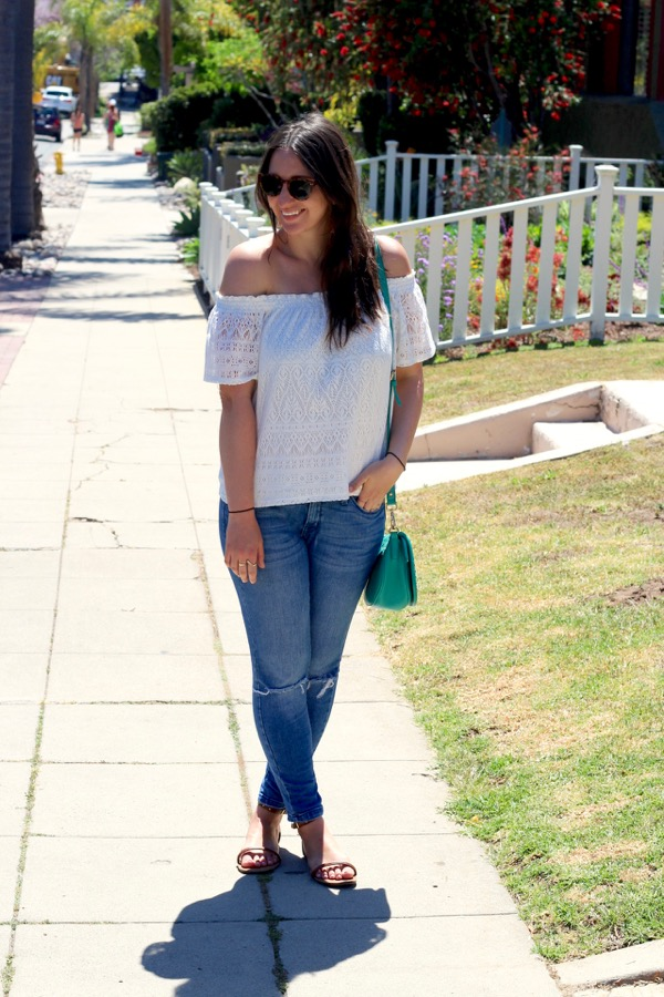 a68cd827de297 LunaVida  Flower Child  Off-The-Shoulder Top + Ripped Jeans + Sandals