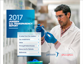 "Report cover for the ""2017 Janssen U.S. Transparency Report"" available online at https://jnj-janssen.brightspotcdn.com/b9/96/70c52ba14482a97c48bdfebf0471/2017-janssen-us-transparency-report-march2018.PDF."