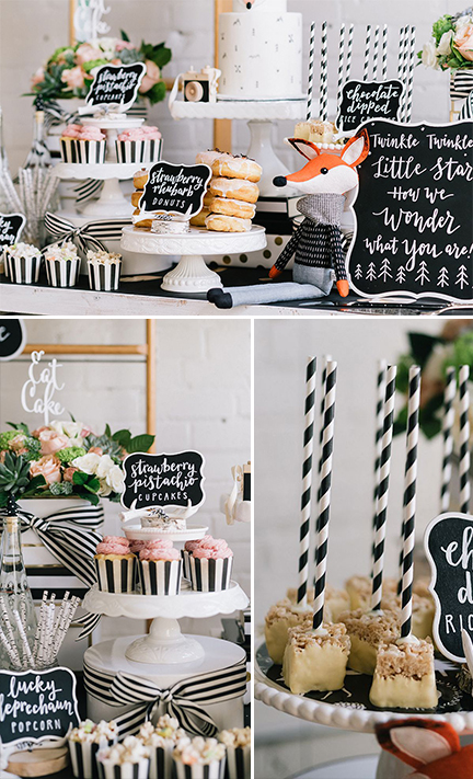 modern wilderness baby shower - sweet table details | creativebag.com